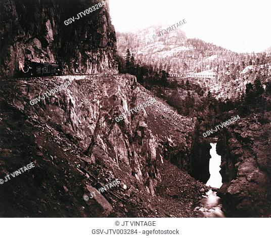 Train, Denver and Rio Grande Railroad at Canyon of Rio Las Animas, Colorado, USA, by William Henry Jackson, circa 1882