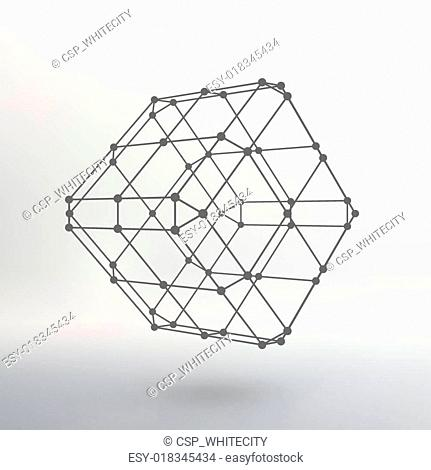 Cube of lines and dots. Cube of the lines connected to points. Molecular lattice. The structural grid of polygons. White background