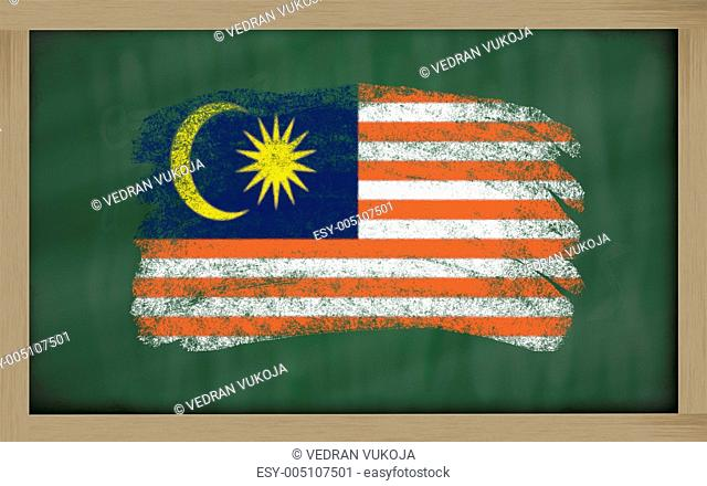 national flag of malaysia on blackboard painted with chalk