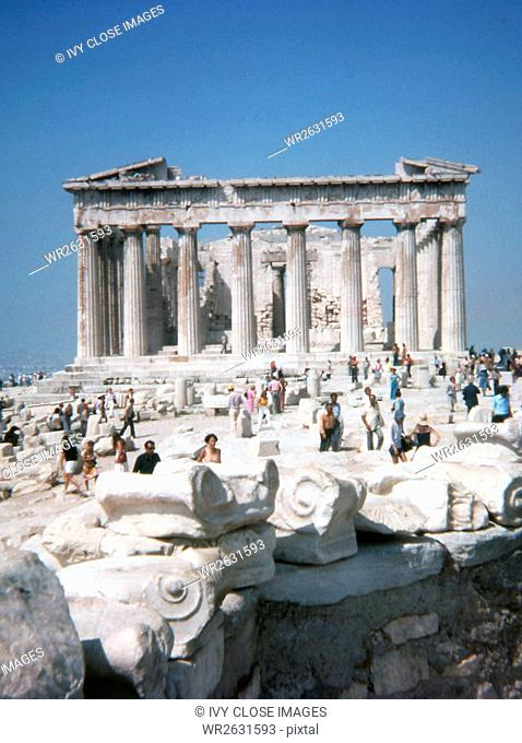 This photo, taken around 1990, shows a frontview of the Acropolis in Athens, Greece. The Acropolis in Athens, Greece, is an outcrop of rock used in ancient...
