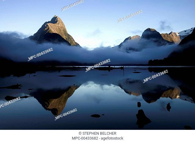 Mitre Peak at dawn, Milford Sound, Fiordland National Park, New Zealand