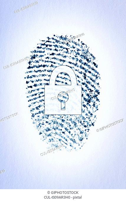 Lock outline over a fingerprint of a male's index finger