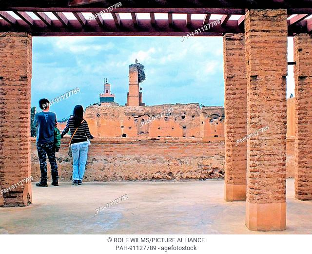 From the wall of Palais El Badii visitors have a beautiful panoramic view of the walls February 2017 Marrakesh - Morocco   usage worldwide