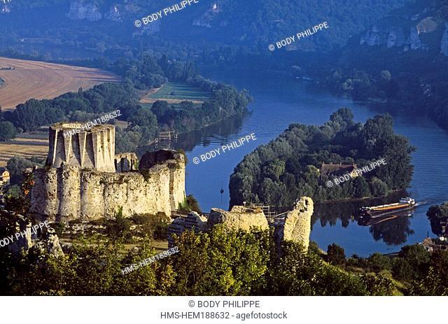 France, Eure, Les Andelys, Gaillard castle and Seine river