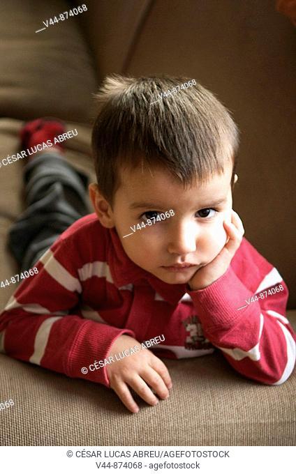 3 year old boy watching TV