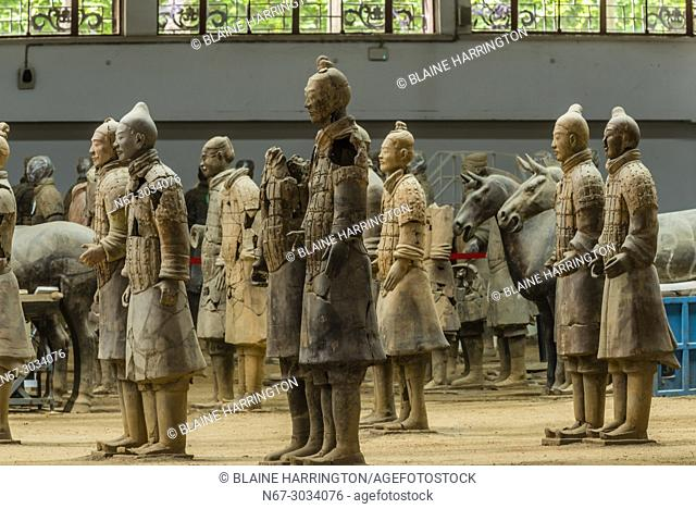 The Terracotta Army was found extensively damaged when discovered in 1974. The warriors have been painstakingly reassembled