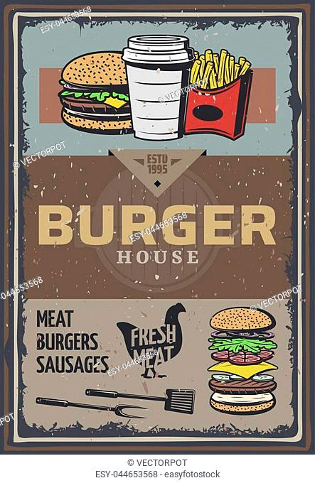 Vintage colored burger house poster with inscription hamburger cheeseburger soda french fries cooking utensils vector illustration