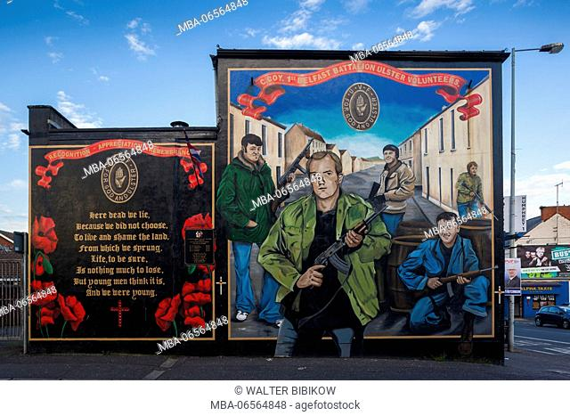 UK, Northern Ireland, Belfast, Falls Road, Unionist pro-British murals along Shankill Road