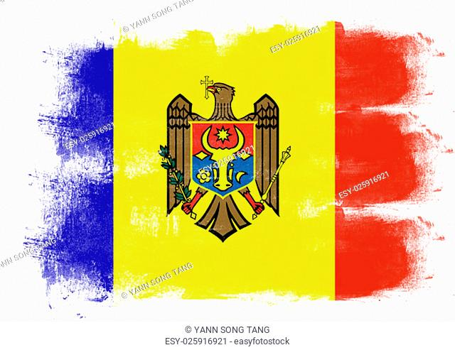 Flag of Moldova painted with brush on solid background