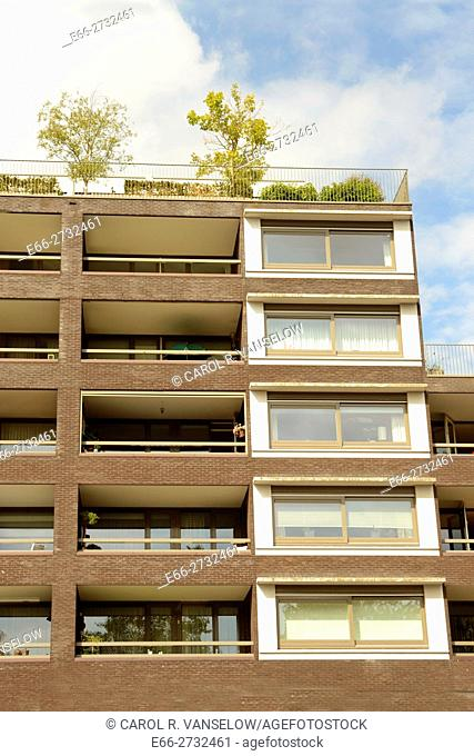 Corner of apartment complex on the 1992 Plein in the Ceramique neighborhood of Maastricht