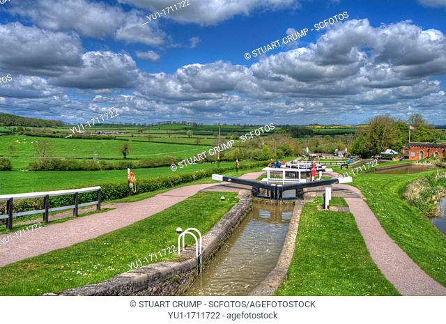 HDR of Foxton Locks, located on the Leicester line of the Grand Union Canal at Foxton, Nr Market Harborough, Leicestershire, England, UK