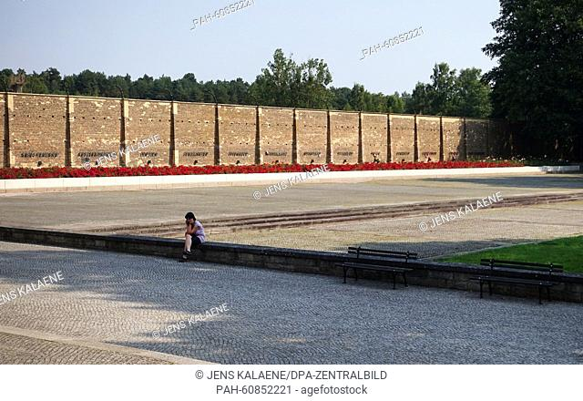 View of the 'Mauer der Nationen' (lit. Wall of Nations) on the grounds of Ravensbrueck women's concentration camp in Fuerstenberg, Germany, 11 August 2015