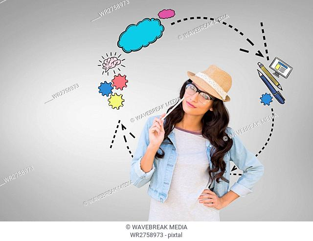 Woman with creative graphics drawings