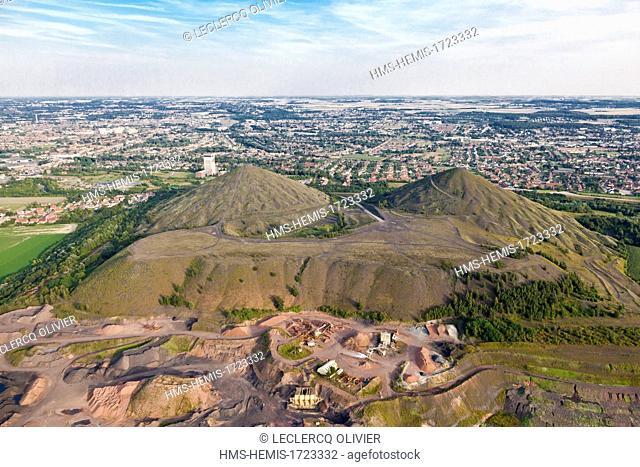 France, Pas de Calais, Loos en Gohelle, the twin slag heaps of pit head 11/19, mine site listed as World Heritage by UNESCO (aerial view)