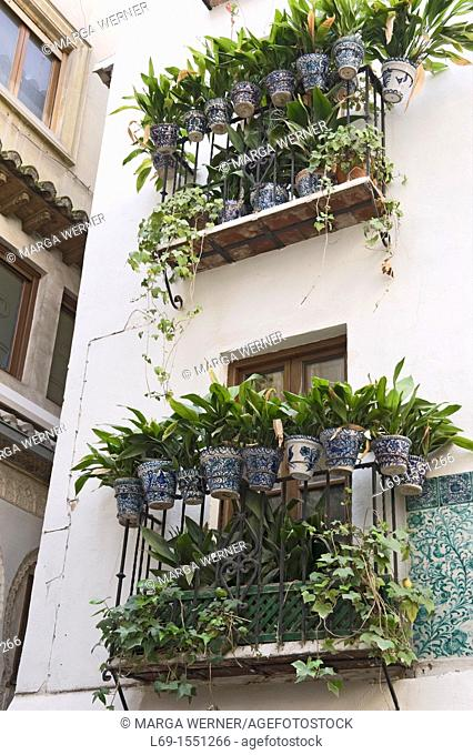 House with balconies and flower pots, Alcaiceria, Granada, Andalusia, Spain, Europe