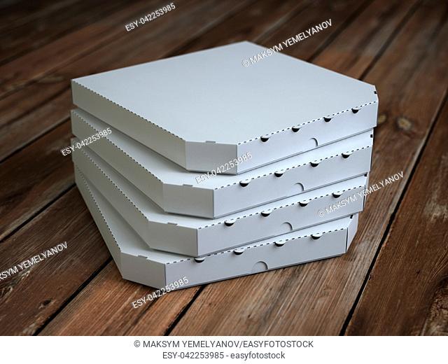 Pizza boxes on vintage wooden planks. Mock up. 3d illustration