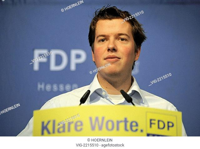 GERMANY, KUENZELL, 19.06.2010, liberal state party congress at Kuenzell near Fulda federal chairman of liberal youth organisation young liberals Lasse BECKER -...