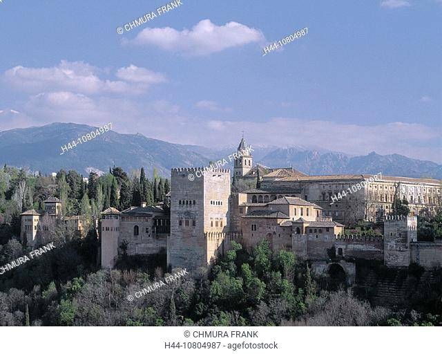 Alhambra, Andalusia, city, fortress, Granada, old town, Spain, Europe, town, view