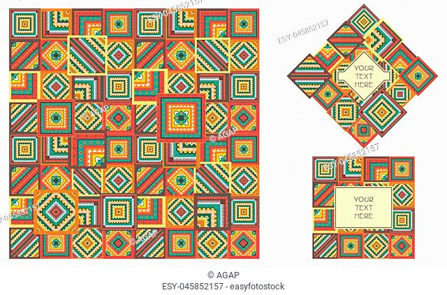 Boho or tribal style patch pattern. Geometric colorful print for textile. Seamless pattern. Vector. Logo design with background