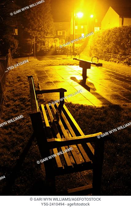 Playground at night in wales great britain uk