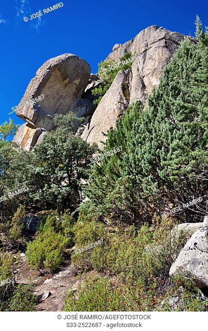 The Cancho of the Dead in The Pedriza. Sierra de Guadarrama. Manzanares el Real. Madrid. Spain. Europe