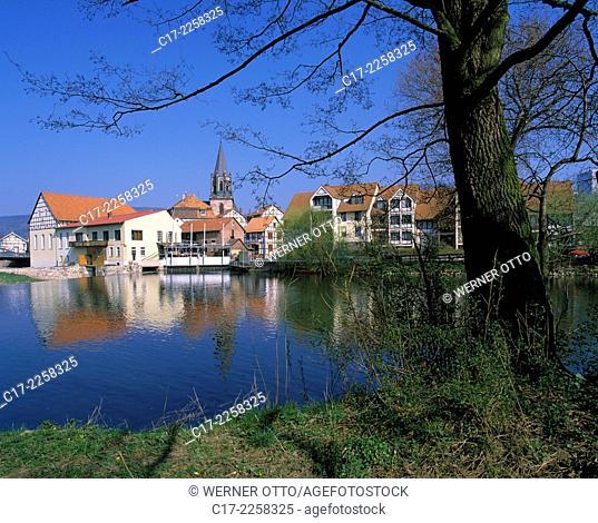Germany, Rotenburg an der Fulda, Fulda, Hesse, New Town, city view, Fulda promenade, residential buildings, evangelic church
