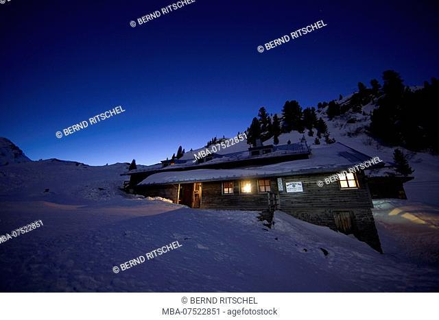 Bamberger hut by night, Kitzbüheler Alps, Tyrol, Austria