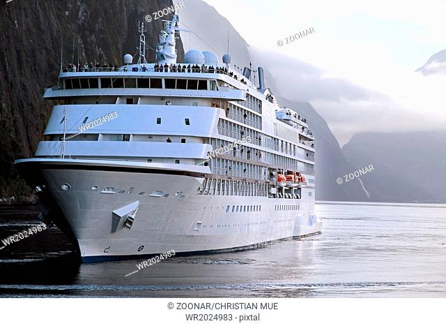 Cruise ship in the Milford Sound