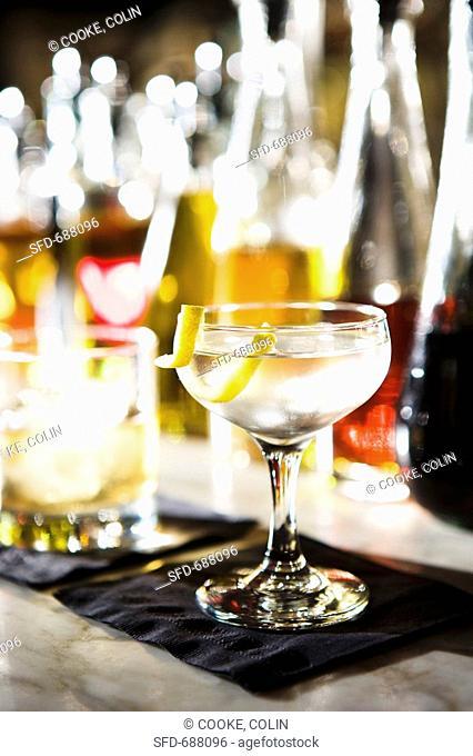 Martini with Lemon Twist on Bar