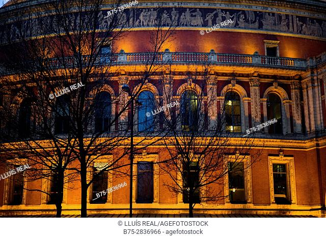 Royal Albert Hall facade, Kensington Gore, South Kensington, Londres UK Europa