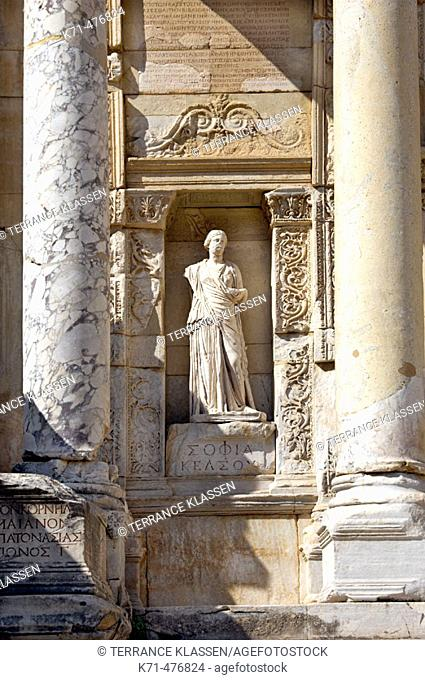 Detail of the exterior of the Celsus Library in Ephesus, Turkey