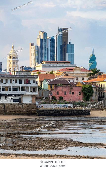 Historic and modern city skyline, Panama City, Panama, Central America