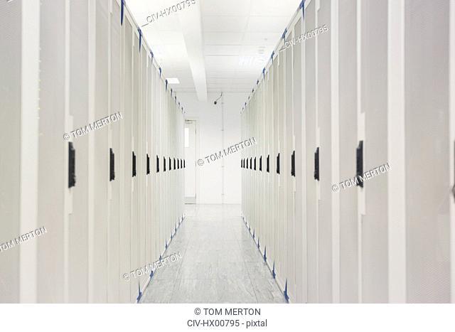 White server room corridor