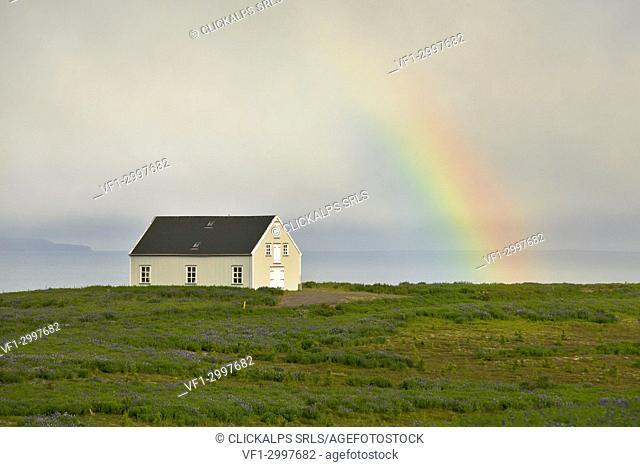 rainbow near Husavik, Northern Iceland, Nordurland Eystra, Iceland