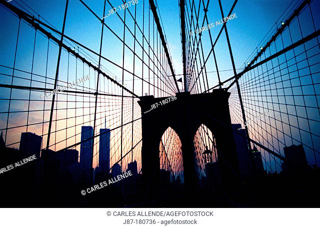 Brooklyn Bridge cables. New York City. USA