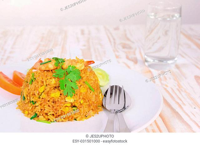 Shrimp Fried Rice,Thai fried rice. (shallow DOF)