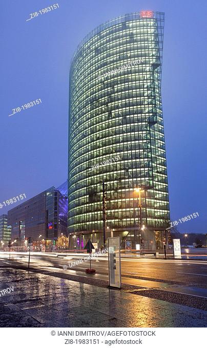 The Bahn Tower in Potsdamer Platz at night,Berlin,Germany