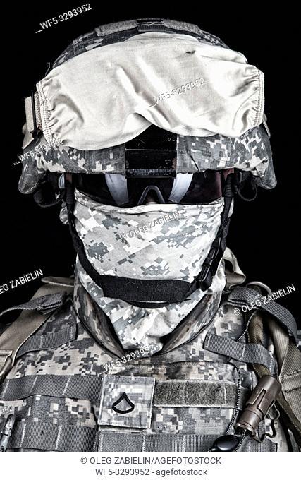 Close up portrait of marine raider, elite army squad member, military company mercenary in combat helmet, pixel camo uniform