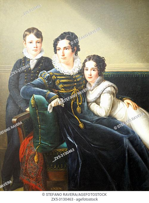 Portrait of a woman with her two children (1815/1820) by Francois Joseph Kinsoen (1771-1839). oil on canvas. Groeningemuseum - Bruges, Belgium