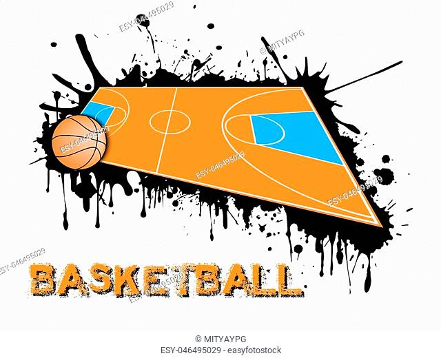 Abstract basketball background. Basketball ball and field on a background of blots of paint. Vector illustration