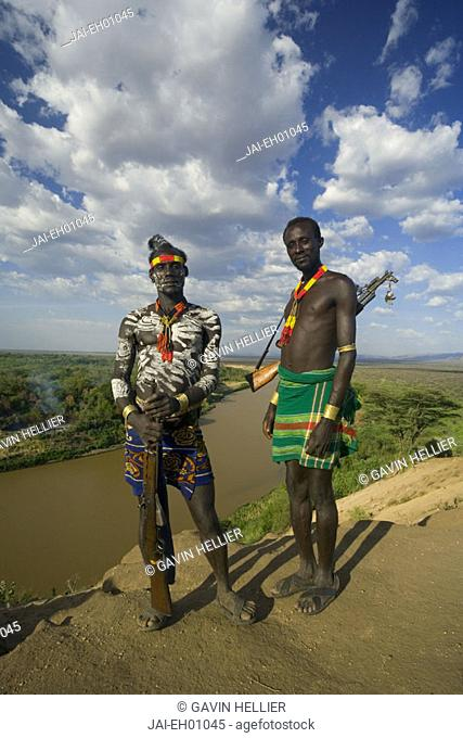 Karo Tribesman, Omo river, Lower Omo Valley, Ethiopia