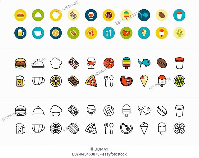 Black and color outline icons thin flat design, modern line stroke style, web and mobile design element, objects and vector illustration icons set 6 - food and...
