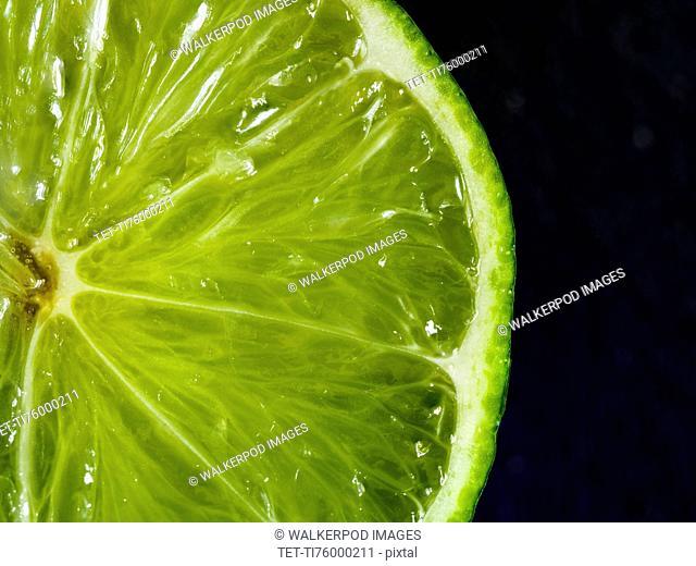 Halved green lime