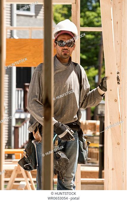 Carpenter working at a construction site