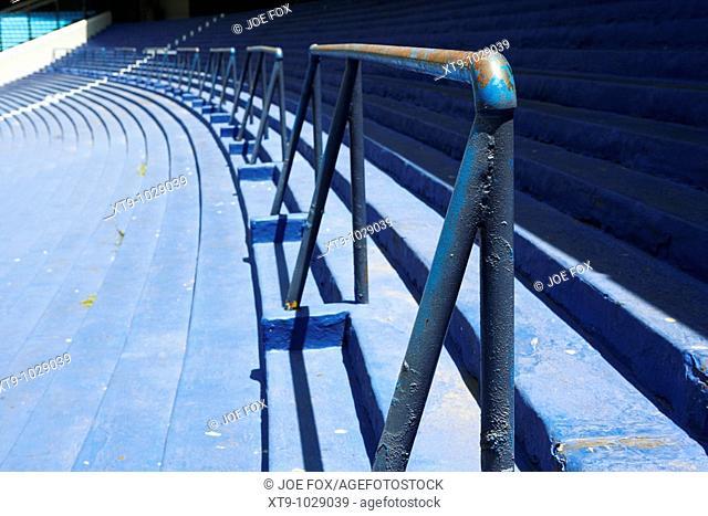 barriers in rows of terracing in the Alberto J Armando la bombonera stadium home to atletico boca juniors football club la boca capital federal buenos aires...