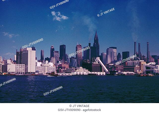 Skyline with Chrysler Building, Midtown, New York City, New York, USA, August 1961