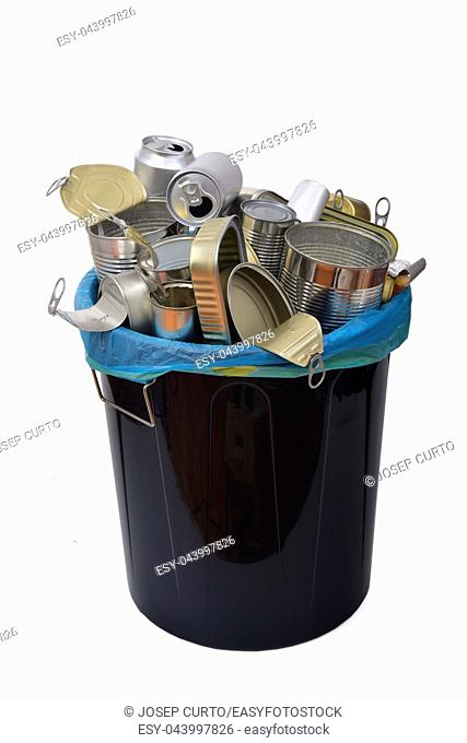 trash can (tin can food and drink) full of cans on white