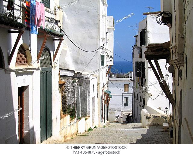 Street view of casbah (Unesco world heritage site),  old historic center town,  Algiers, Algeria