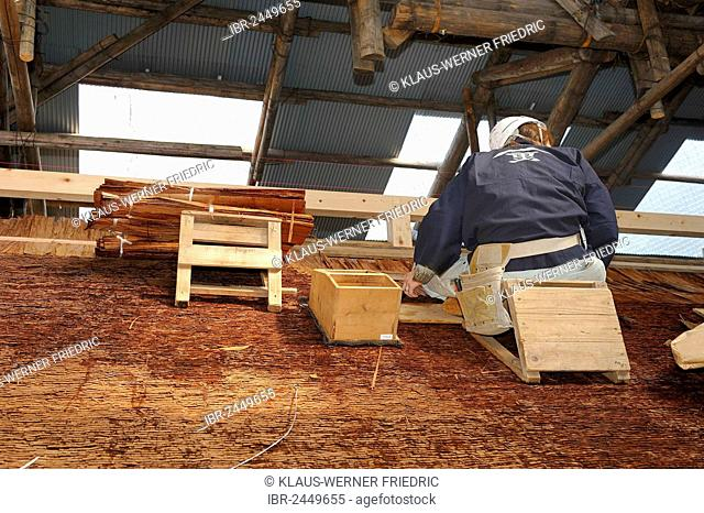A roofer with a hard hat is nailing cypress bark to the roof of the Kamigamo Shrine, protected by a protective roof, Kamigamo Shrine, Kyoto, Japan, East Asia