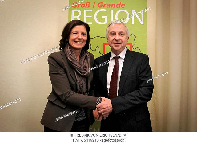 New Premier of Rhineland-Palatinate Malu Dreyer and French politician Jean-Pierre Masseret shake hands in Pont-a-Mousson near Nancy, France, 24 January 2013